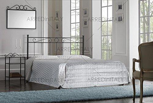 Letto matrimoniale in ferro colore nero grafite con giroletto predisposto per rete con piedini 160 x 190 cm. non inclusa - prodotto made in italy - arr065