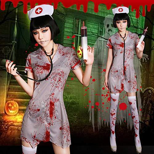 Krankenschwester Doktor Paar Kostüm - wnddm New Halloween Karneval Frauen Cosplay Kostüme Horror blutigen Krankenschwestern Scary Doctor Zombie Kostüm Cosplay Kleid Prinzessin@Einheitsgröße