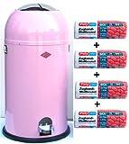 Wesco Kickmaster 33-Liter Mülleimer pink + 56 Stück optimal passende Müllbeutel
