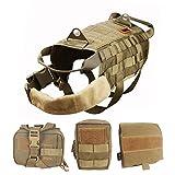 OneTigris Taktisch Hundeausbildung MOLLE Weste Geschirr Hundegeschirr mit einfach Abnehmbare Dienstprogramm Kletttasche Zubehörtasche (Khaki, M)