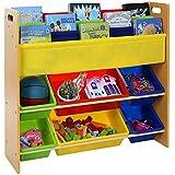 Songmics Estantería infantil para juguetes libros Librería de 3 niveles con 6 cajones GKR03Y