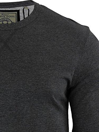 Herren Brave Soul Prag Lange Ärmel T Shirt Crew Neckline leicht Tee Top  Charcoal Marl