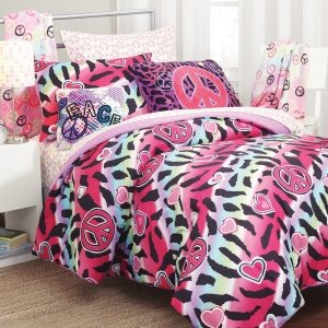 Rock Your Zimmer 3-teilig Leopard-Bettlaken-Set, Twin, Rainbow -