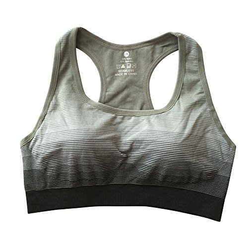 Brightup Femme Soutien-gorge de sport Débardeurs de Yoga Fitness Gym Workout Sans Couture Gris
