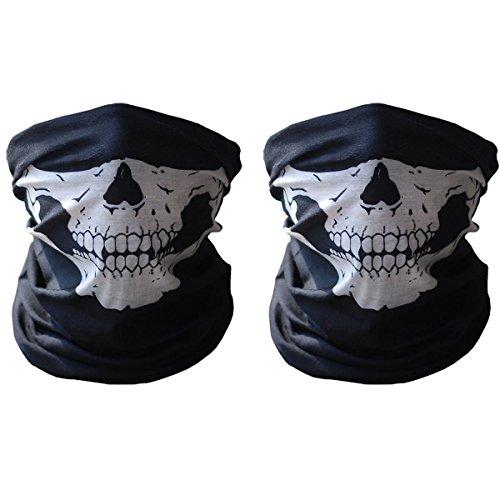 Mangotree 2 Stück Premium Sturm Maske Totenkopf Skull Maske Multifunktionstuch Schlauch Nahtlos Schädel Sturmmaske Ghost für Motorrad Fahrrad Ski Paintball Gamer Halloween Karneval (Halb Halb Kostüme Und)