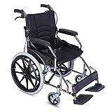 ACEDA Faltbarer Rollstuhl Mit Rutschfest Armlehnen,12.5Kg Leichter Dicker Stahl,Transportrollstuhl Reiserollstuhl,Sitzbreite 43Cm,Belastbarkeit 100Kg,Fußpedal 3 Höhenverstellbar,Black