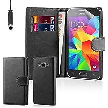 32nd® Funda Flip Carcasa de Piel Tipo Billetera para Samsung Galaxy Core Prime (SM-G360) con Tapa y Cierre Magnético y Tarjetero - Negro