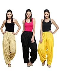 Fashion Store Women Cotton Patiala Salwar With Dupatta Combo Of 3 (Free Size, Skin & Yellow & Black