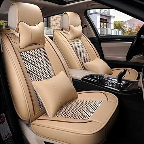 HUtu Sitzbezug, 13 vollen Satz Leder Ice Silk Autositze Zubehör, 5-Sitz-Auto-Universal (Color : Beige)
