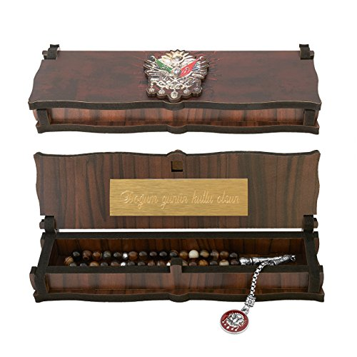 Schreiben Wappen (Gök-Türk Box Schatulle MIT GRAVUR aus Holz Handgemacht & Tesbih Gebetskette 'Wappen Osmanisches Reich' Tugra Abdulhamid 33 Perlen, ColorName:mit Gravur)
