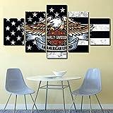 BOYH 5 Pannelli Stampa su Tela Poster Moto Harley Davidson HD Wall Art Modern Immagini Home Decor,B,30×40×2+30×60×2+30×80×1
