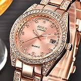 XKC-watches Herrenuhren, Damen Modeuhr Quartz/Edelstahl Band Bettelarmband Silber/Gold Marke (Farbe : Rotgold, Großauswahl : Für Damen-Einheitsgröße)