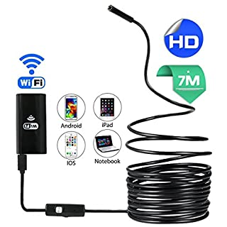 allimity WIFI Endoscope, Wireless Inspection Camera 2.0 Megapixel 720P HD Borescope, IP67 Waterproof Snake Camera with 6 Adjustable LED for Iphone 4 5 6 7 8 s x IOS Android Smartphone Tablet PC (7M)