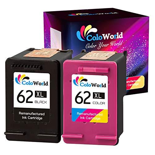 ColoWorld 62XL Wiederaufbereitet Ersatz für HP 62XL für OfficeJet 250 200 5740 5742 Envy 7640 5646 5540 5640 5545 5541 5544 Drucker (1 Schwarz, 1 Farbe)