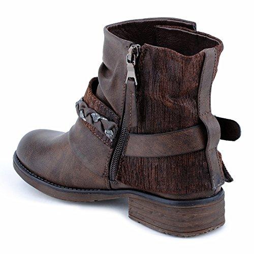 Damen Stiefeletten Stiefel Schnalle Reißverschluss Blockabsatz Glitzer Biker Boots Schuhe Braun
