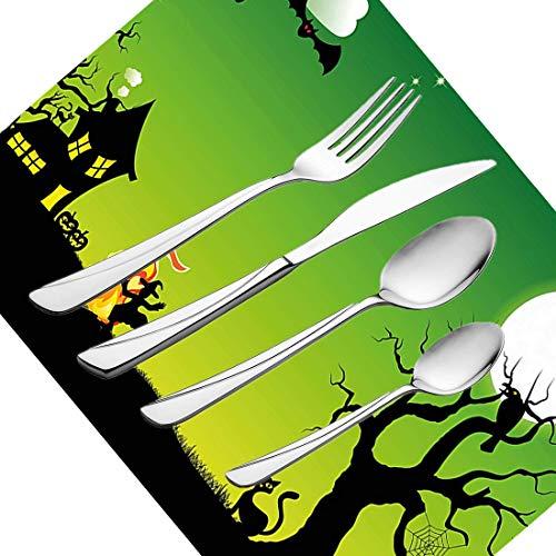 30-teiliges Besteckset, Halloween-Besteck Geschirr aus Edelstahl Besteck Geschirrset für 6 Personen Einschließlich Messer, Gabeln, Löffel, Teelöffel und Tischset, Hexentanz um das Feuer bei H