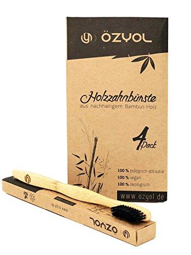 Bambus Zahnbürste mit reinem Bambus-Holz ✮ 4er Pack ♻ vegan ✮ biologisch abbaubar ✮ 100% frei von BPA ✮ Borsten mit Bambus-Holzkohle für beste Sauberkeit -