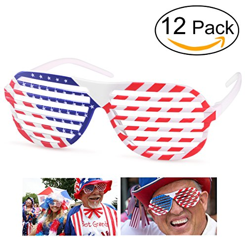 OULII 12pcs amerikanische Flagge USA patriotischen Design Schatten Shutterbrillen Shades Sonnenbrillen Brillen für 4. Juli Requisiten Party (Brille Patriotische)