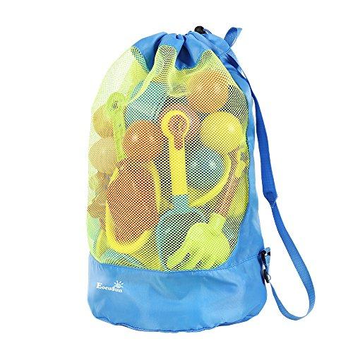 EocuSun Strandspielzeug Tasche Strandtasche Mesh Beach Bag Sandspielzeug Wasserspielzeug Rücksack Beutel für Kleinkind Kinder Jungen Mädchen Badetasche XXL groß für Familie Urlaub (Blau)