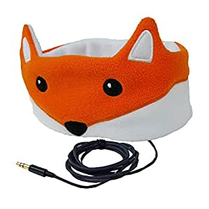 CozyPhones Kids Headphones. Comfy Headband Earphones, Light as Air and Great for Travel, Comes in Kid Friendly Animal and Anime Designs and Cute Colors like Green, Blue and Purple - FOX