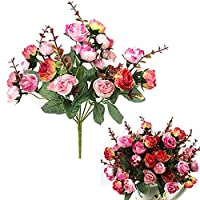 1 Bouquet 21 Head Artificial Rose Silk Flower Leaf Home Party Wedding Decor - Rose-Red Amesii