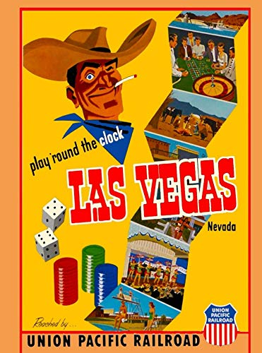 ABLERTRADE Las Vegas Nevada Union Pacific United States Travel Advertisement 8X12 Inch Metal Sign Wall Art Decor -