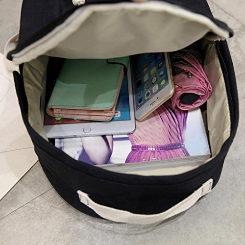 Rucksack, Voberry Jungen Mädchen Schulter Bookbags Schultasche Satchel Travel Canvas Rucksack Schwarz