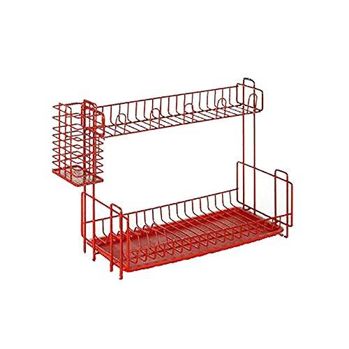 Organizador de cocina Escurridor estante de platos y vasos de 2 niveles  escurreplatos con espacio para 13103c0b9b67