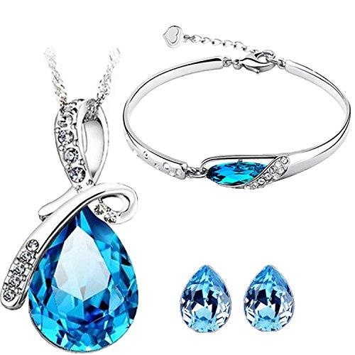 Valentine Gifts : Shining Diva Platinum Plated Crystal Jewellery Combo of Pendant Set / Necklace Set with Earrings and Bracelet For Girls & Women