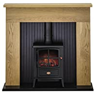 Adam Innsbruck Stove Suite in Oak with Brayford Electric Stove in Black, 48 Inch