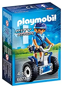 PLAYMOBIL Policía- Policewoman with Balance Racer Playset, Multicolor (6877)