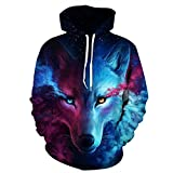 Herren Digitaldruck Kapuzenpullover Tops Fashion Hoodie Pullover Hooded Sweatshirt (2XL/3XL, Wolf Head)