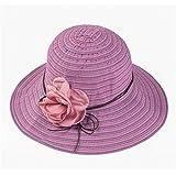 CGXBZA Chapeaux D'Été pour Femmes avec Ceinture De Fleurs Rayées pour Femmes Chapeau De Plage Panama Sunhats Chapeau De Paille en Osier