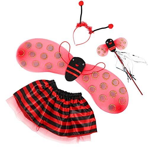 Tutu Bee Kostüm Bumble - Templom SIX Fairy Bumble Bee Marienkäfer Flügel Kostüm Set - Cute Wings Tutu Kleid Stirnband Fancy Dress Up Party Kostüm(Marienkäfer)