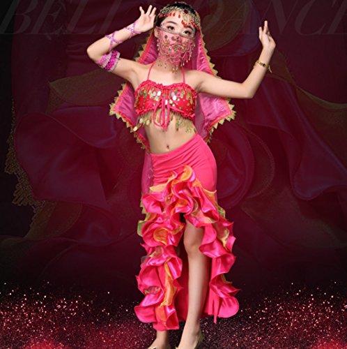 Mode Praxisanzüge Kinder Bauchtanz Kostüme Indischen Tanz Kostüme Passt Rot/Gelb/Pink,Pink,M (Peacock Tanz Kostüme)