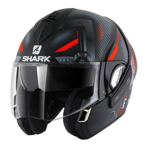 Shark Moto Casco Hark–Evoline 3shazer Mat, Negro/Rojo, tamaño