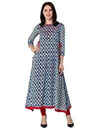 Gulmohar Jaipur Blue Color Cotton Round Neck A-line Women's Kurti