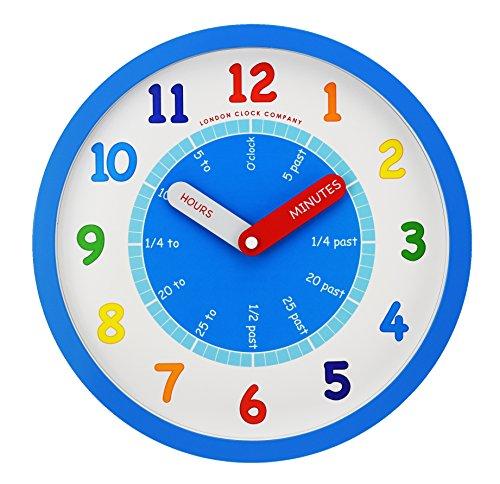 London Clock Company - Reloj de pared de guardería para aprender a decir la hora - azul