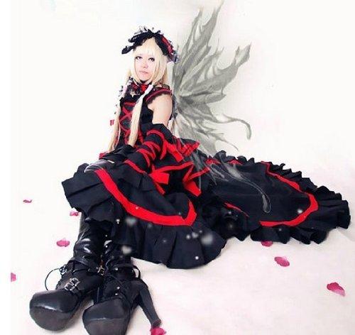 Chobits Chii Cosplay Kostüme Schwarz Lolita(Mailen Sie uns Ihre Größe), Größe S:(155-160 (Kostüm Chobit)