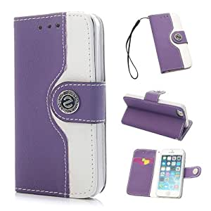 "VCOER Premium Book Style PU Ledertasche / Schutzhülle / Hülle / Cover / Shell / Leder Skin / Flip Case Handy Tasche In der ""Leather Wallet Edition"" - Design aus PU Leder INKLUSIVE Standfunktion Kredit- oder Visitenkarten für Apple iPhone 5 5G 5S (Purple Lila)"