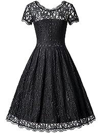 Zarlena Damen Kleid Spitzenkleid Cocktailkleid Abendkleid Vintage