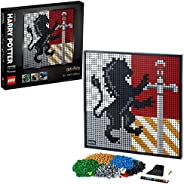 LEGO 31201 Art Harry Potter Hogwarts Crests Poster, Canvas Wall Décor, DIY Set for Adults