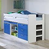 Pharao24 Halbhohes Bett mit Stauraum Weiß Blau