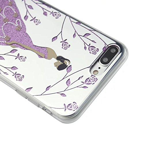 MOONCASE iPhone 7 Plus Coque, Bling Glitter Etui TPU Silicone Antichoc Housse Case pour iPhone 7 Plus (Arbre Fille - Argent) Étoile Fille - Violet