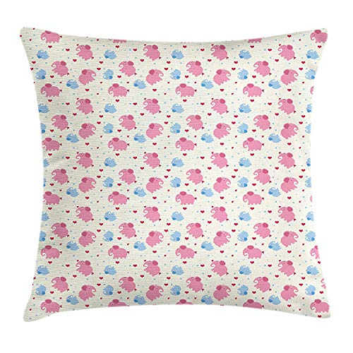 Trsdshorts Elephant Throw Pillow Cushion Cover, Cheerful Cute Kids Pattern with Red Hearts and Blue Dots Cartoon Style Lovely Zoo, Decorative Square Accent Pillow Case, 18 X 18 Inches