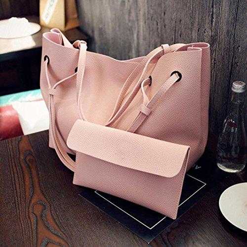 Moda Donna Litchi Modello Pu Borsa In Pelle Spalla Bag + Pochette Portafoglio di Kangrunmy Rosa