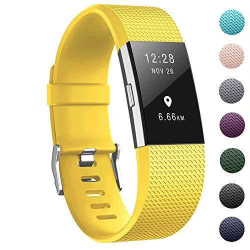 """Zekapu pour Fitbit Charge 2 Bracelet, Charge 2 Sangle réglable Sport Remplacement Bracelet avec Boucle en Acier Inoxydable Classique pour Fitbit Charge2, Grand (6.7""""- 8.1) Mangue Jaune"""