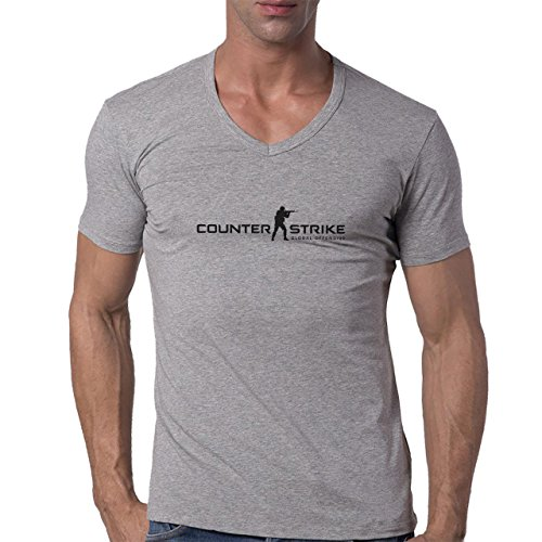 Counter Strike Game Logo Man Words Herren V-Neck T-Shirt Grau