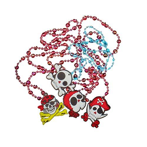 BESTOYARD Blinkende Halskette Halloween Skeleton Schädel Halskette LED Leuchten Halskette Halloween Party Favors Supplies 4 STÜCKE (Random Design und Farbe)
