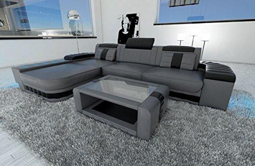 Sofa Dreams Ledersofa Bellagio L Form grau-schwarz
